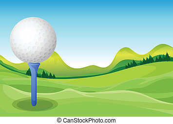 Golf - Illustration of a golf and a field