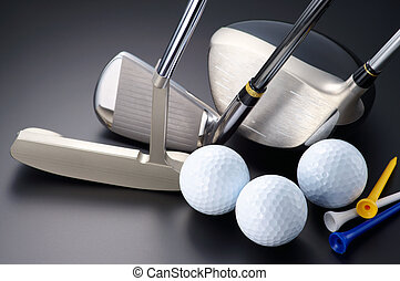 Golf equipment. - Golf clubs, driver, iron, putter, balls...