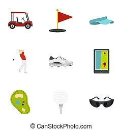 Golf equipment icons set, flat style