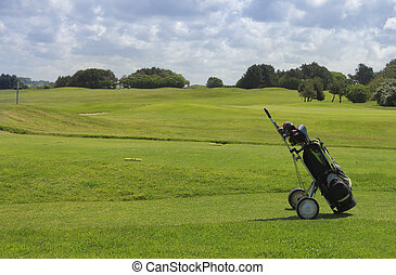 Golf equipment on a golf field in a cloudy day.