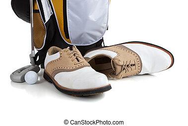 Golf equipment on White