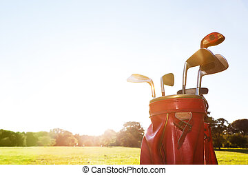 Golf equipment. Professional clubs on golf course - Golf...