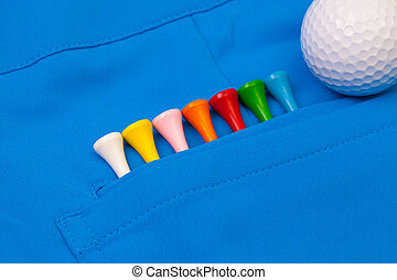 golf, equipments, azul, pantalones