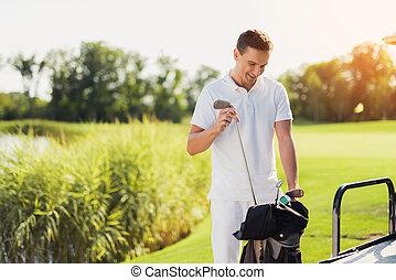 golf, estantes, coche, bolsa, atrás, palo, blanco, ropa,...
