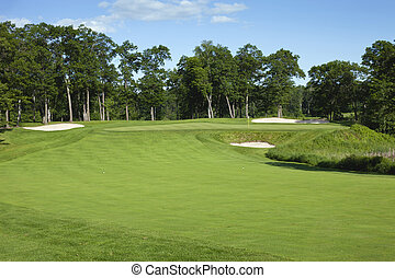 Golf fairway and green with bunkers - Golf fairway and green...