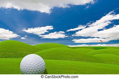 golf fairway - golf course under the blue sky