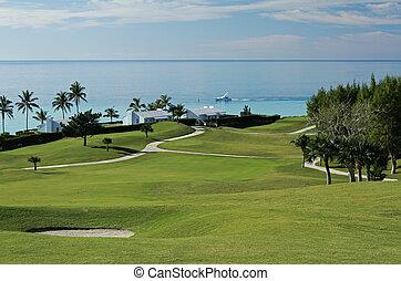 Golf Fairway looking at the Ocean - A fairway on a tropical...