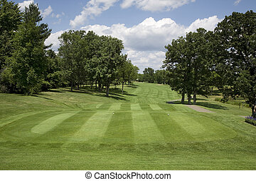Golf fairway with trees on sunny day - Golf tee box and...