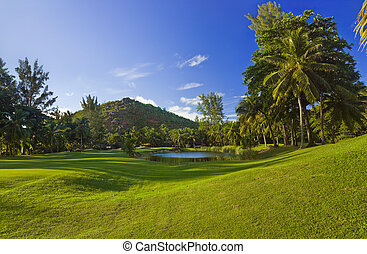 Golf field at island Praslin, Seychelles