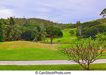 Golf field at Seychelles