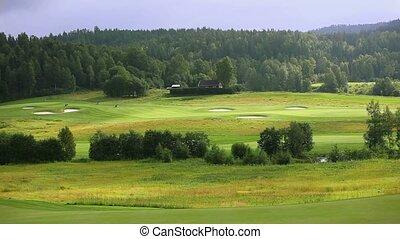 Golf field panorama.