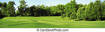 Golf field panorama - A panorama of a golf club field in...
