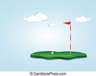 Golf Field - Stylized golf yard illustration, ball,...