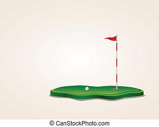 Golf Field - Stylized golf yard illustration, ball, ...