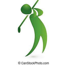 golf, figura, wizerunek, gracz, wektor, zielony, logo, ikona
