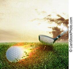 Golf fireball - Fire ball hit by a golf club