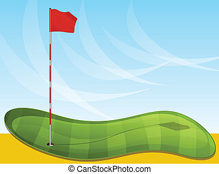 Golf Flag Background - Golf green illustration with flag pin...