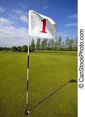 Golf flag no. one - closeup of golf flag number one.