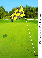 Golf flag on a green