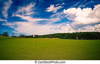 golf flag on green