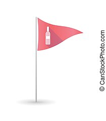 Golf flag with a bottle of wine