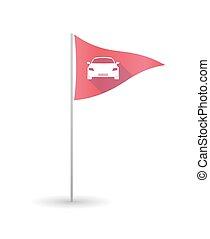 Golf flag with a car