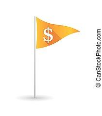 Golf flag with a dollar sign