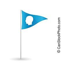 Golf flag with a male head