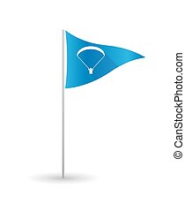 Golf flag with a paraglider