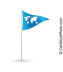 Golf flag with a world map
