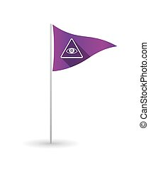 Golf flag with an all seeing eye