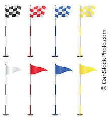 golf flags vector illustration isolated on white background