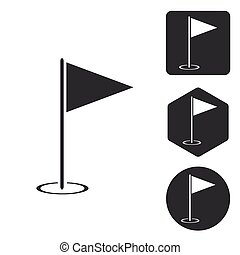 Golf flagstick icon set, monochrome