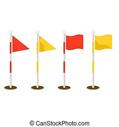 Golf flagsticks set vector cartoon icon symbols. Golf game flagstick and hole.