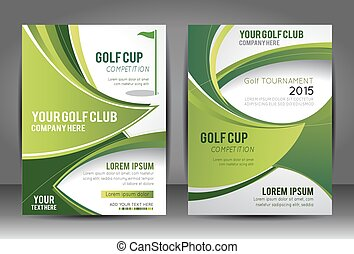 Golf flyer and magazine cover template, vector illustration background with wave - brochure design or flyer
