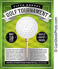 golf, flyer, toernooi