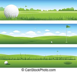 golf, fondo, bandiere