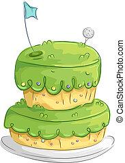 golf, gâteau, conception
