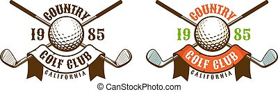Golf ball and clubs vintage logo