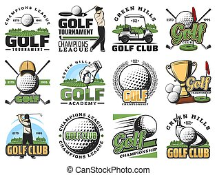 Golf game, sport equipment and trophy cup icons