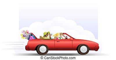 Golf Get Away - Four women golfers driving a red convertible...