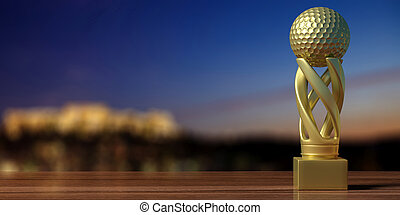 Golf golden trophy on a wooden table, blur background. 3d illustration