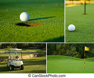 Golf, golf ball, green and golf cart collage combination -...