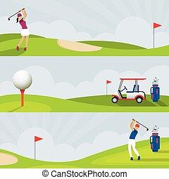 Golf, Golf Course Banner - Men and Women, Swing, Golf Cart