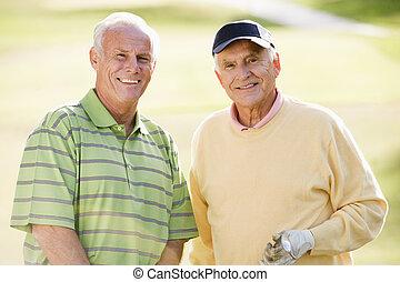 golf, golf, cursus, paar, vrouw, het glimlachen, gaan, hogere mens, volwassene