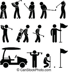 Golf Golfer Swing People Caddy - A set of pictogram about ...