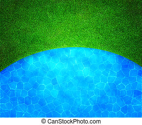 Golf Grass and Water Background