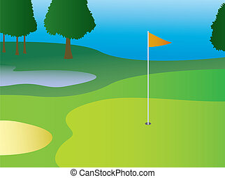 A golf course green with hazards and a flag in the hole.