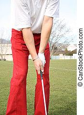 Golf Grip of golfer on range during practise