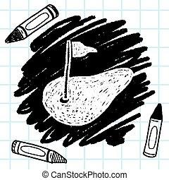 golf groen, doodle